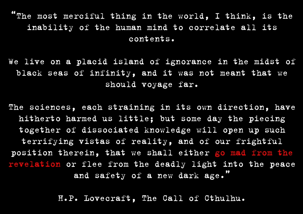 lovecraft quote - new dark age